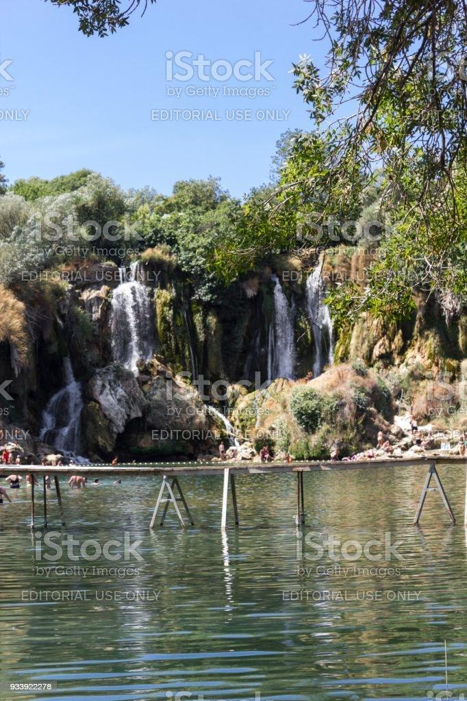 Naturalparklamd of Kravica waterfalls in Bosnia Herzegovina stock photo