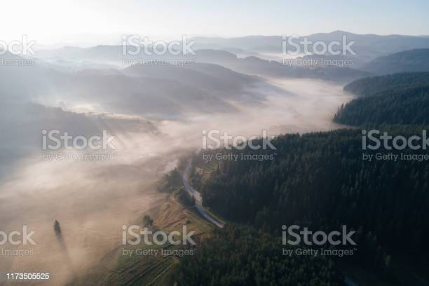 Photo of Nature and Cloudcscape. Drone: Aerial view over sea of Clouds in a pine woodland. Sunbeam, mist and fog over the hills, sky point of view, on a bright sunny day.