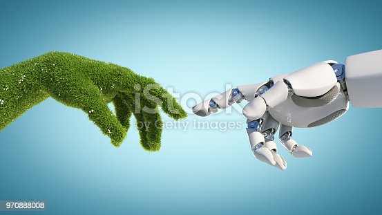 istock Nature and technology abstract concept, robot hand and natural hand covered with grass reaching to each other 970888008
