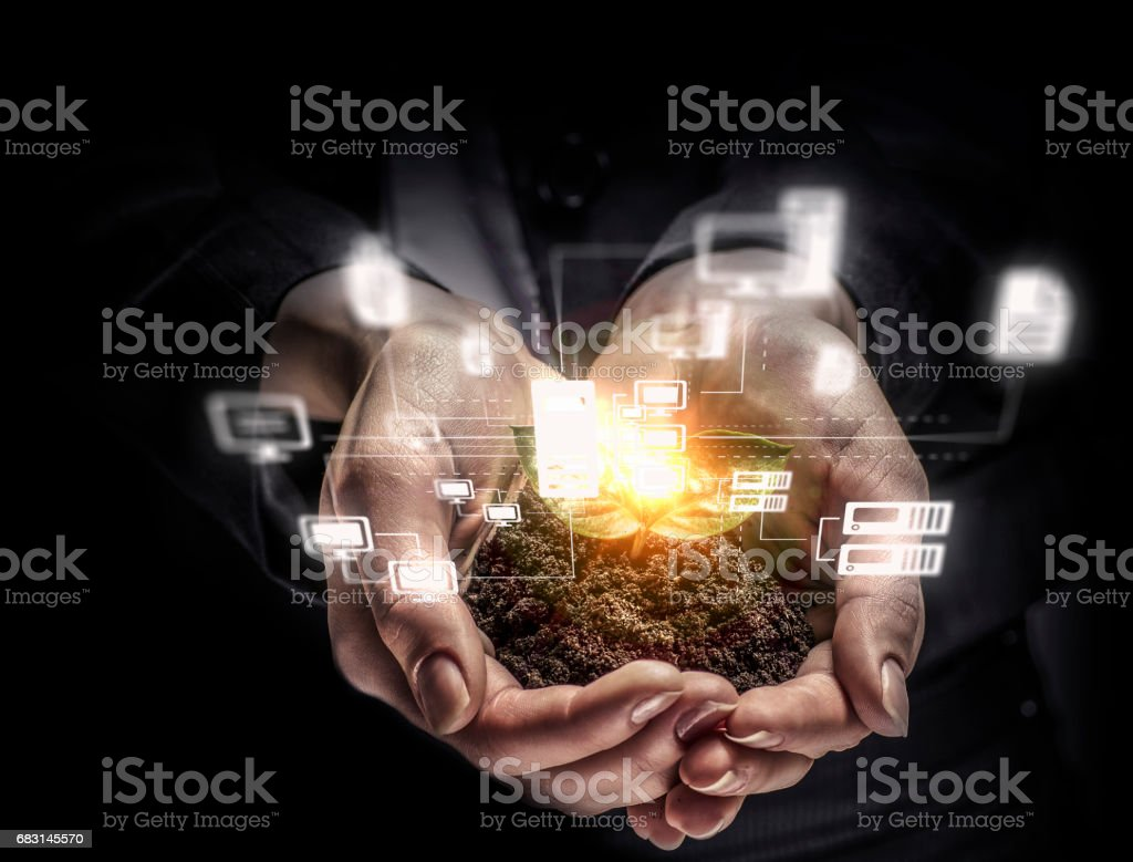 Nature and technology interaction . Mixed media royalty-free 스톡 사진