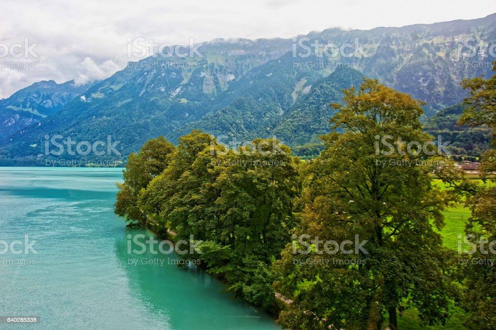 Nature at Lake Brienz and Brienzer Rothorn mountain Bern Switzerland stock photo