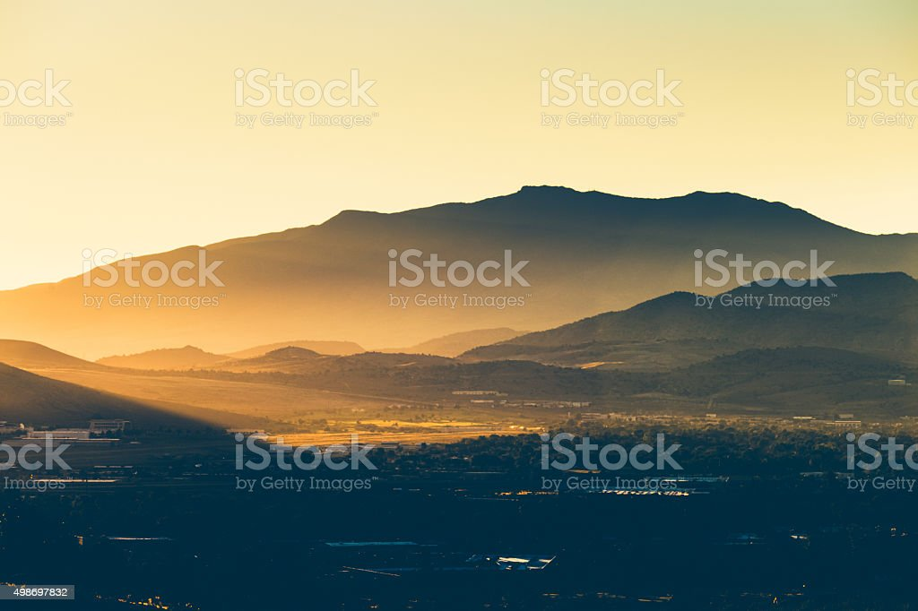 Nature Background - Morning Sunlight On Hills & Mountains stock photo