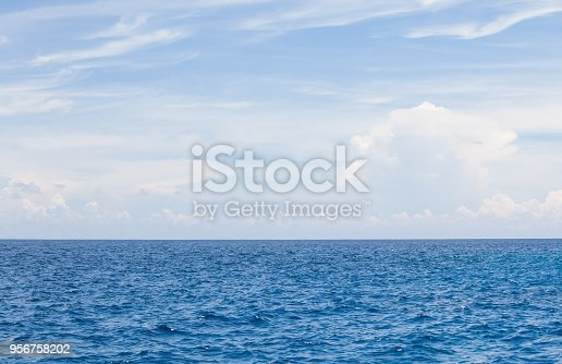 istock Nature background of Blue sea water and sky with cloud 956758202