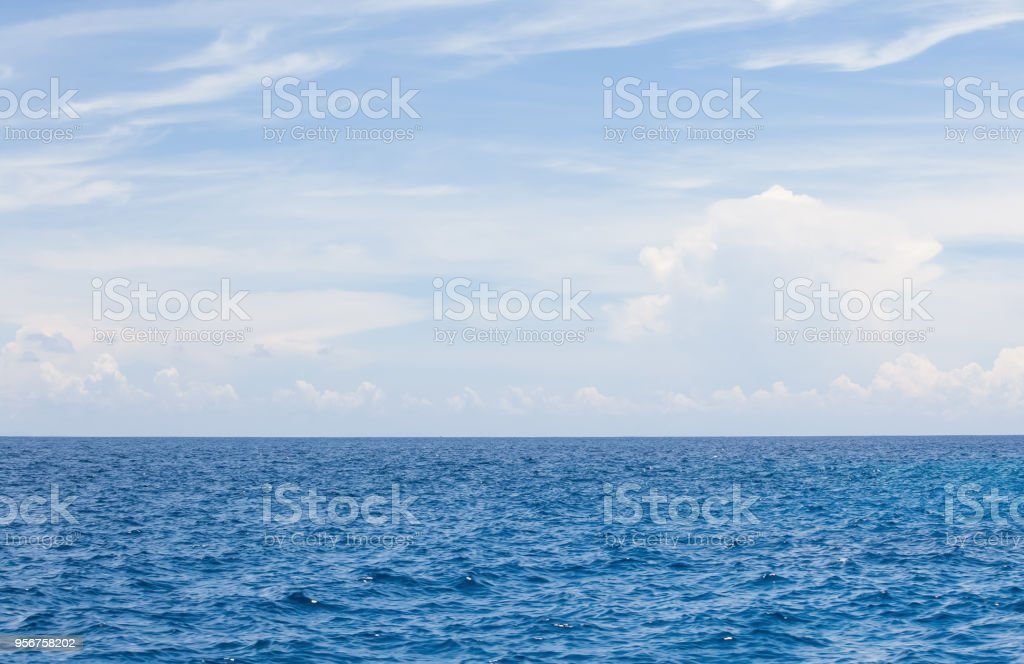 Nature background of Blue sea water and sky with cloud stock photo