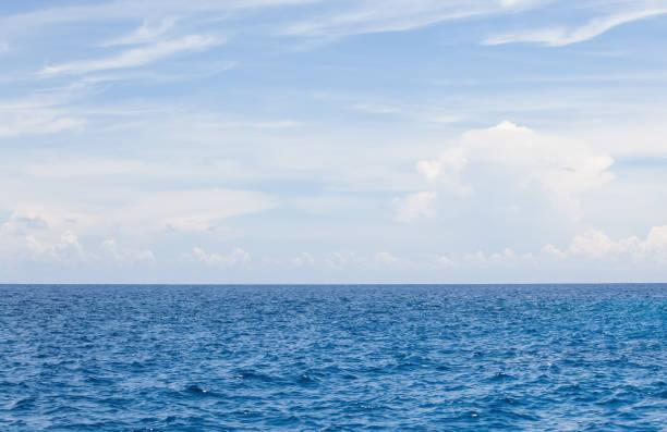 nature background of blue sea water and sky with cloud - oceano pacífico imagens e fotografias de stock