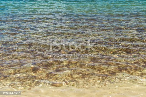 Beautiful nature background and wallpaper of crystal clear and colorful ripple water on rock beach