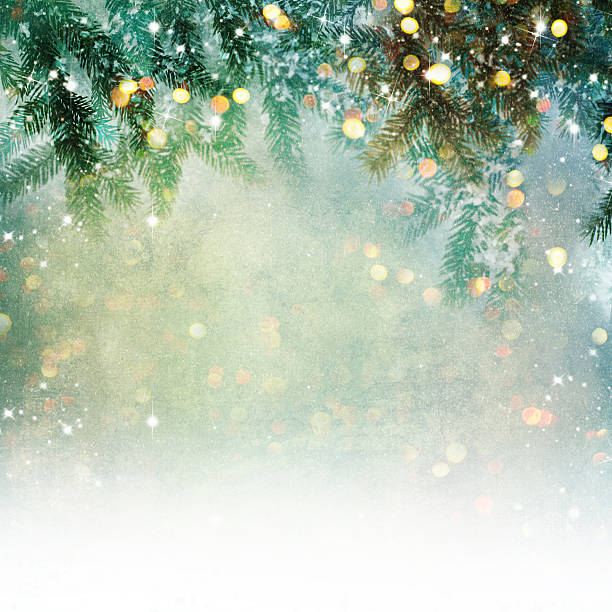 nature background with lighten bokeh - christmas stock photos and pictures