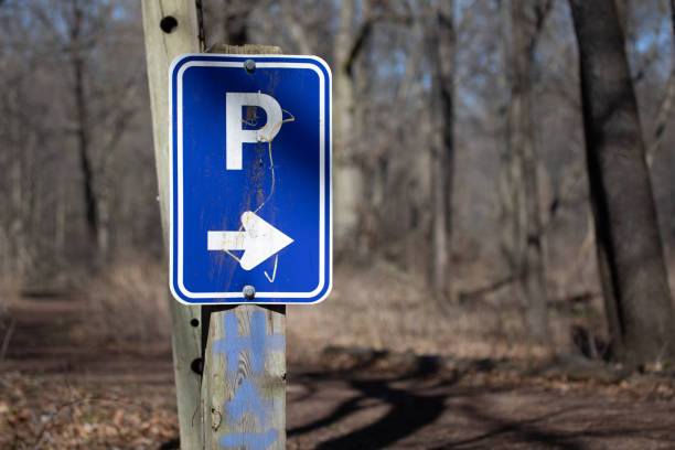 Nature Backgrounds Parking Lot This Way That Way Right Pointing Arrow Copyspace stock photo