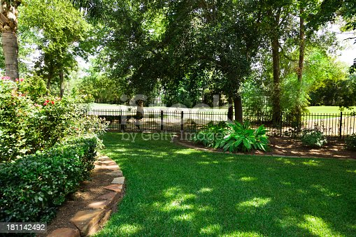 Nature:  Back yard overlooking golf course.  Flowerbeds and shrubs.