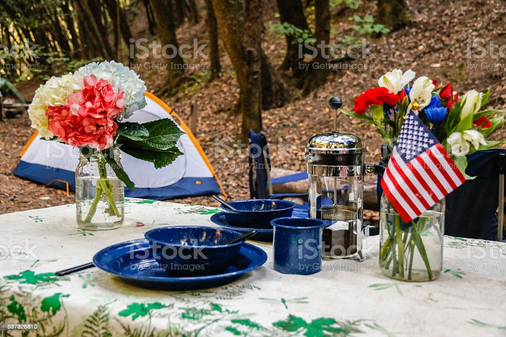 Nature: Camping table stock photo