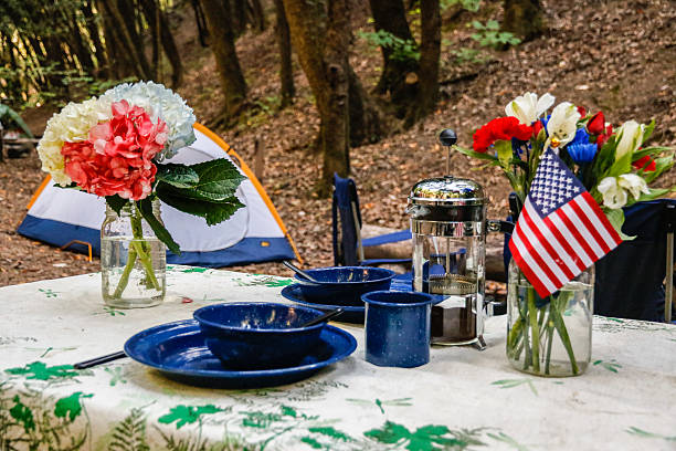 nature: camping table - memorial day weekend stock pictures, royalty-free photos & images