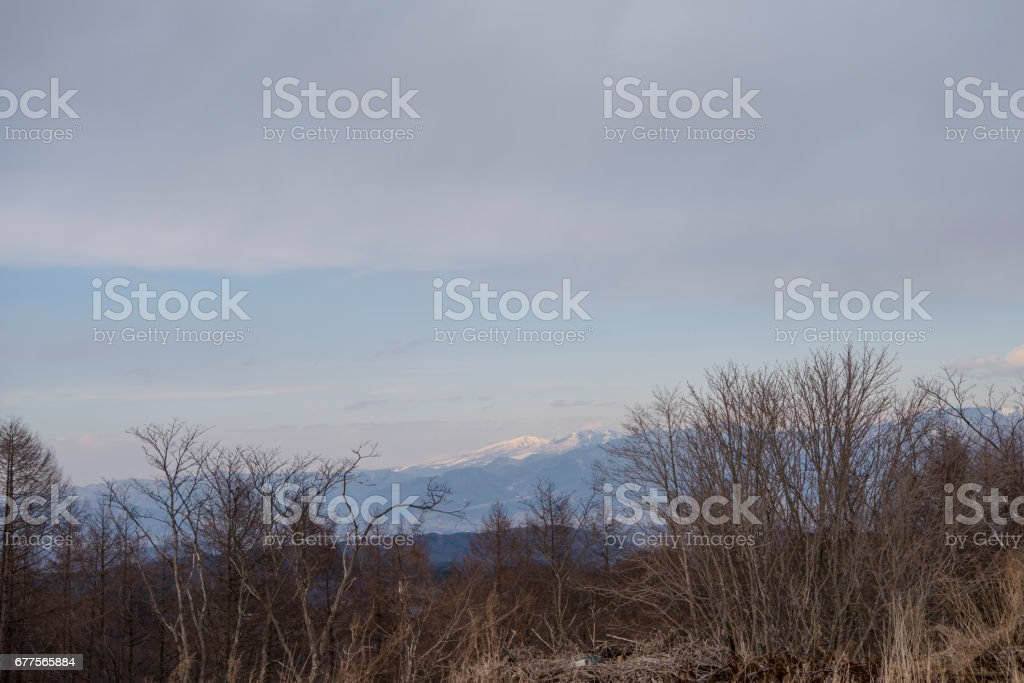 Nature Cloud Sky Cold Blue Winter White landscape Mountain Mountain path close-up Japan royalty-free stock photo
