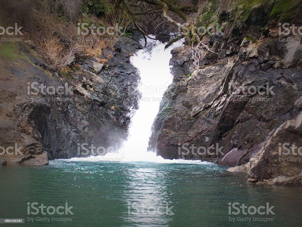 Nature Created Winter Waterfall on Shasta Lake stock photo