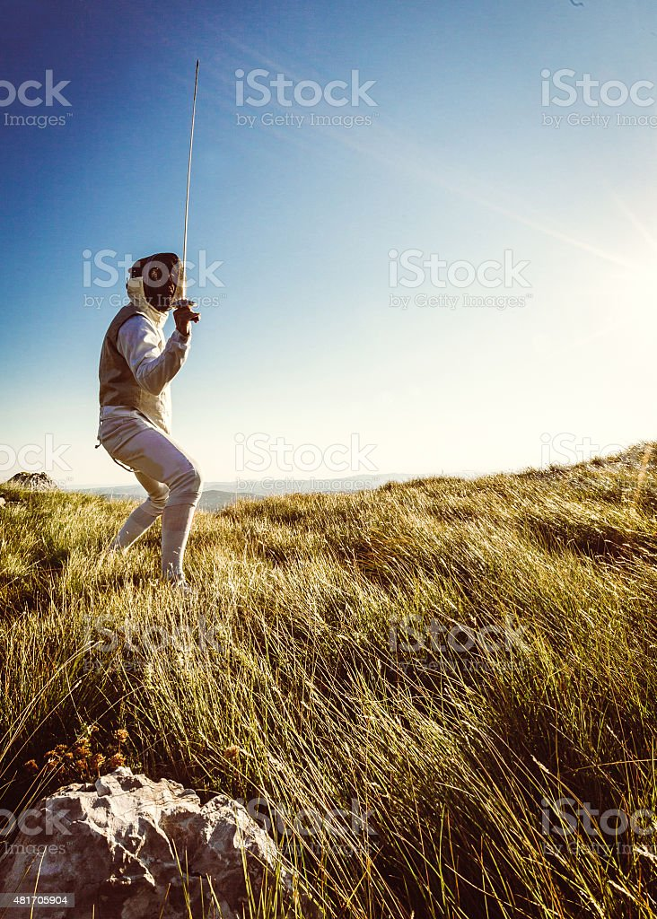 Nature fencer stock photo