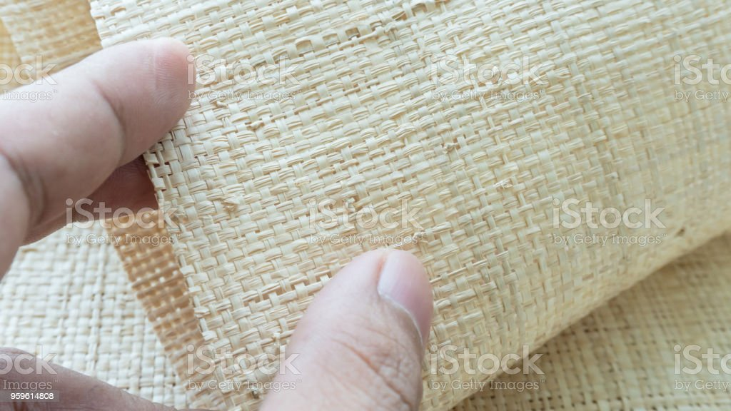 Nature fiber woven for cloth close up background stock photo