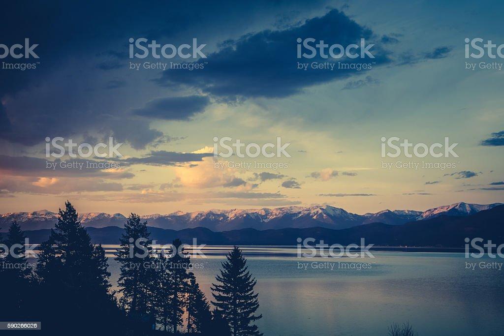 Nature - Flathead Lake Montana Sunset Dusk stock photo