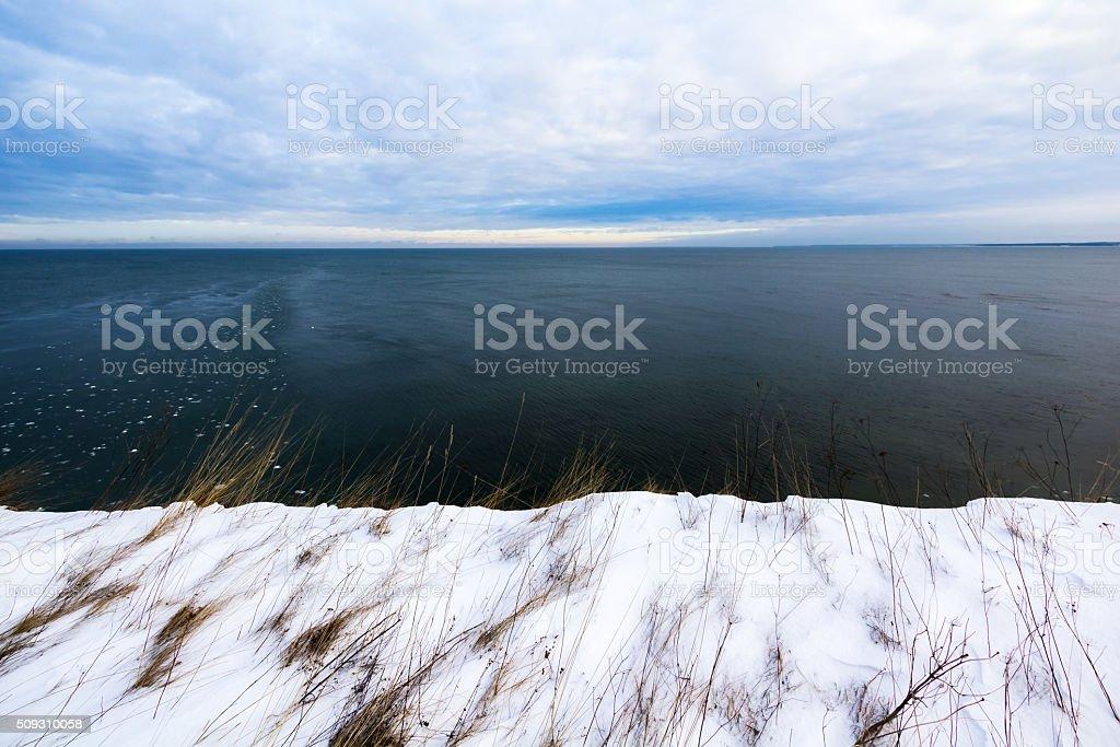 Nature forming Estonian flag stock photo
