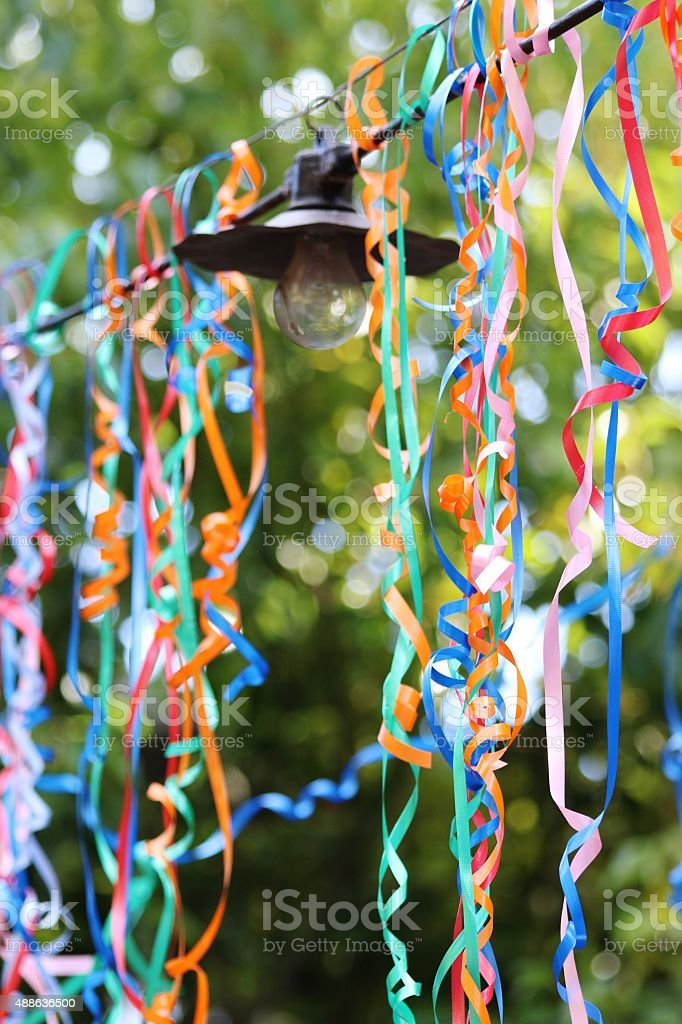 Nature Hanging Lights Outside With Streamers Stock Photo More