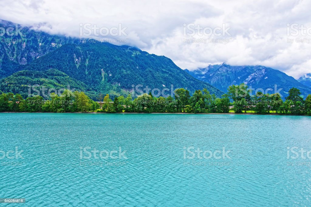Nature in Lake Brienz and Brienzer Rothorn mountain Bern Switzerland stock photo