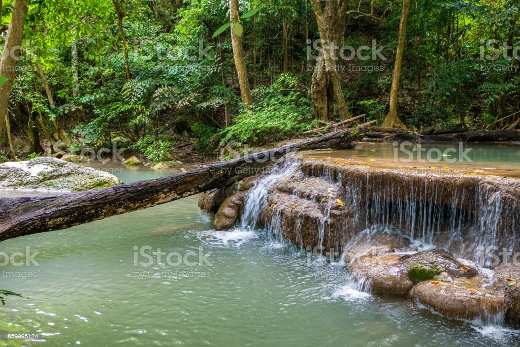 Nature landscape of waterfall cascade in Thailand, Erawan waterfall stock photo