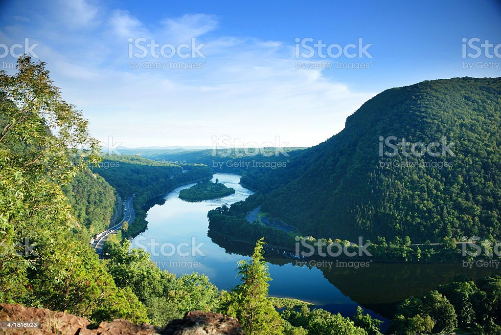 Nature landscape view from mountain peak stock photo