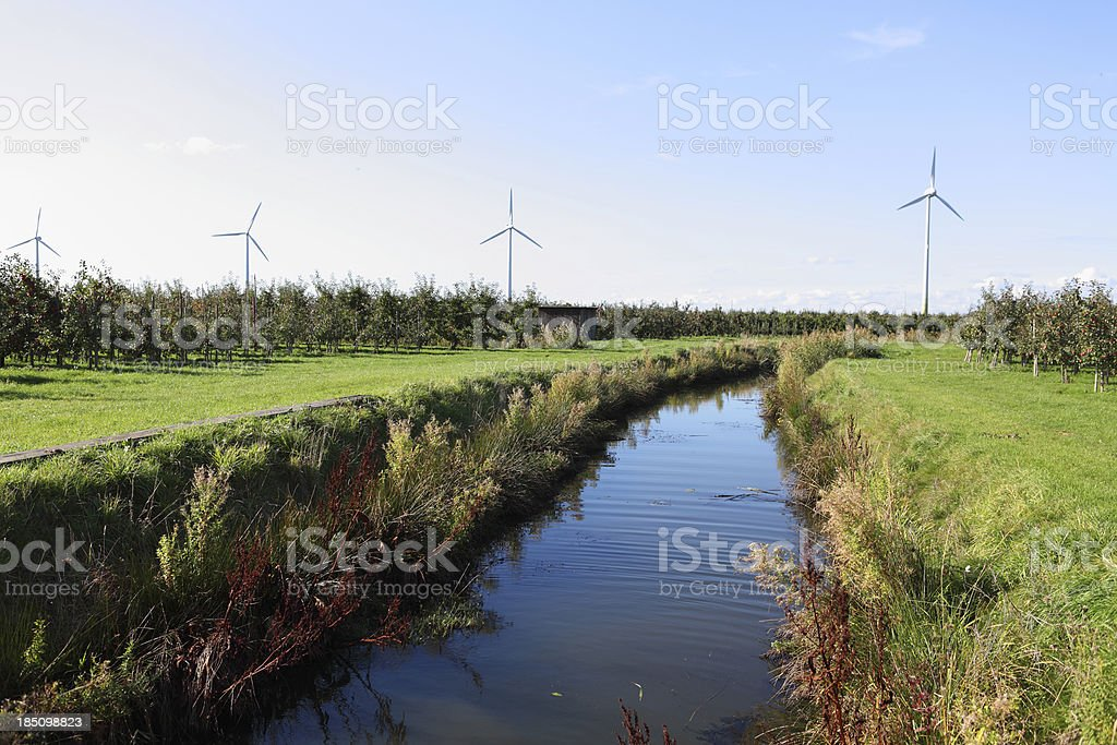 nature landscape with windturbines royalty-free stock photo