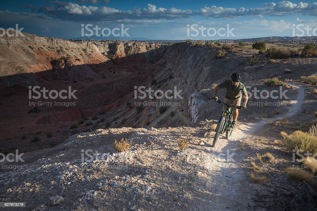 nature man mountain biking fintess stock photo
