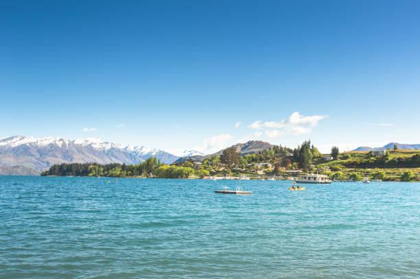Nature morning scenics people enjoy autumn lifestyle coastline and lake Lake Taupo stock photo