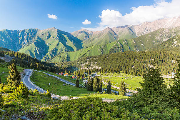 Nature near Big Almaty Lake, Tien Shan Mountains stock photo