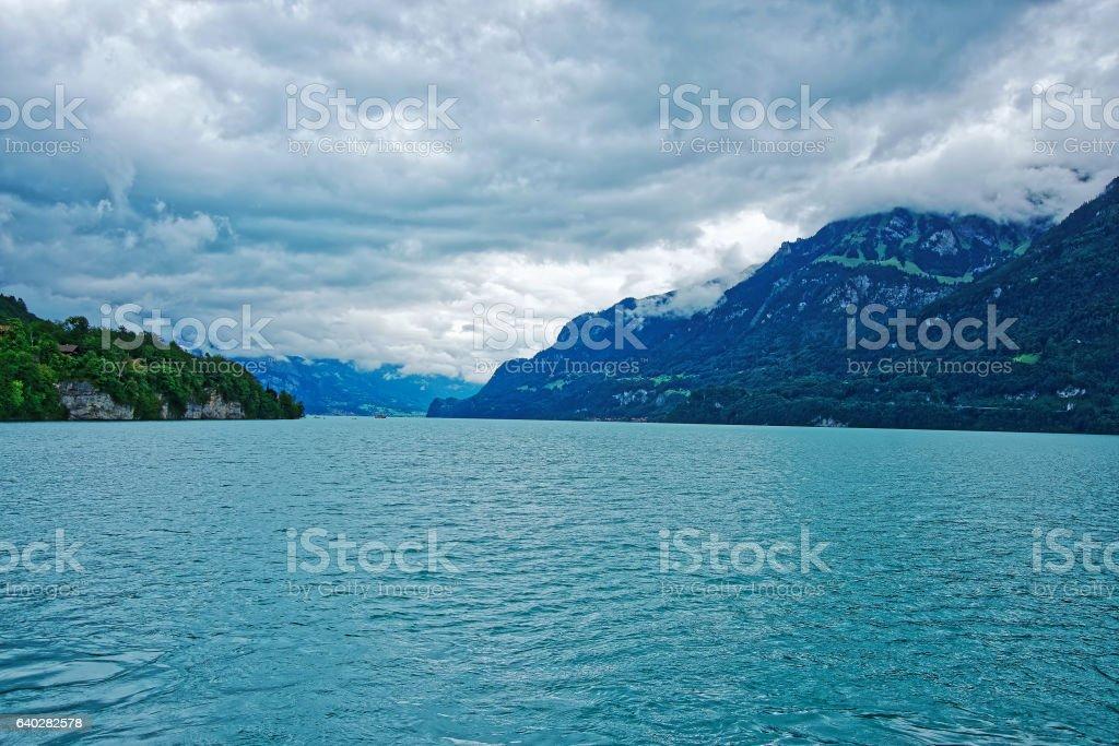 Nature of Lake Brienz and Brienzer Rothorn mountain Bern Switzerland stock photo