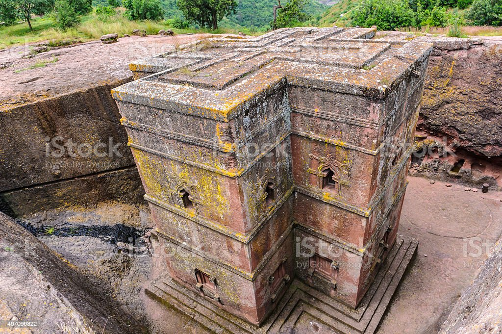 Nature of Lalibela, one of Ethiopia's holiest cities in Africa. stock photo