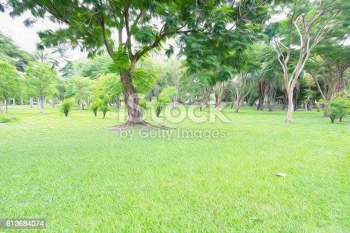 1062226450 istock photo Nature park in the city with oil paint filter. background 613684074