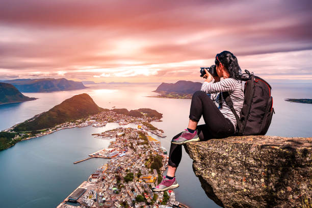 Nature photographer - Aksla at the city of Alesund , Norway. stock photo