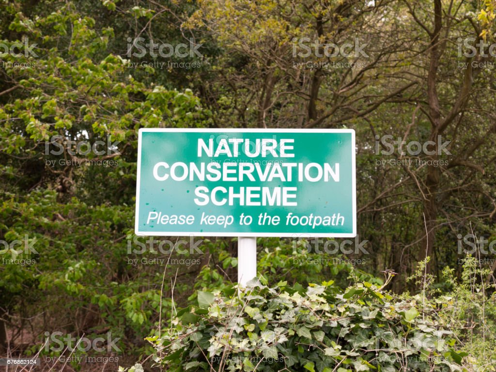 nature reserve sign outside green close up stock photo