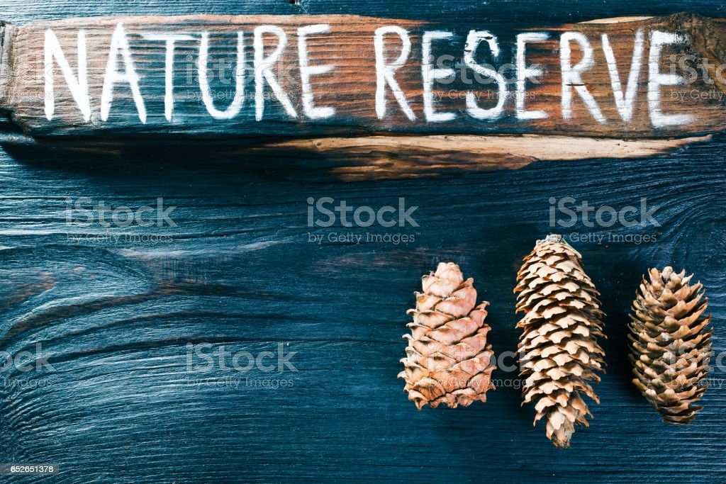Nature reserve signboard stock photo
