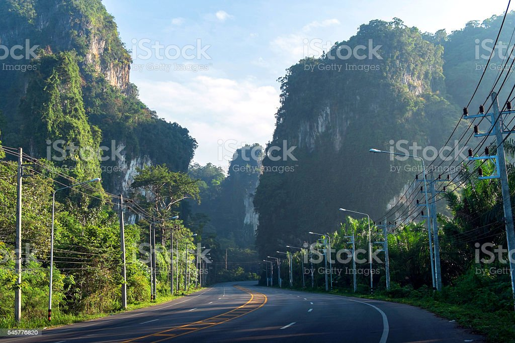 nature road at morning light stock photo