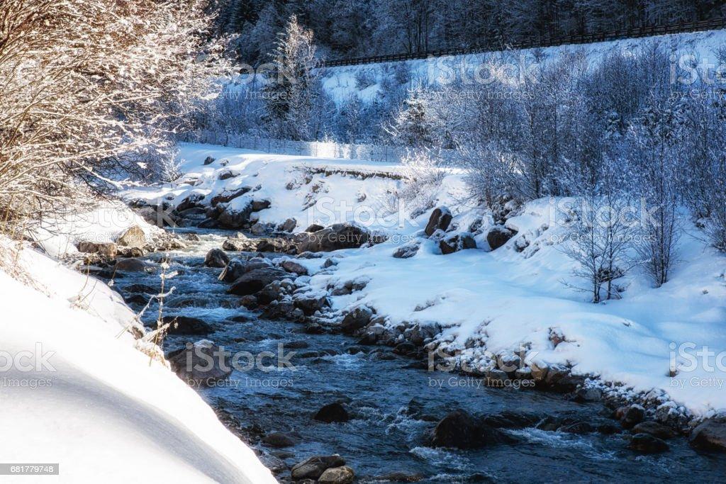 Nature Scenes winter landscape river. stock photo