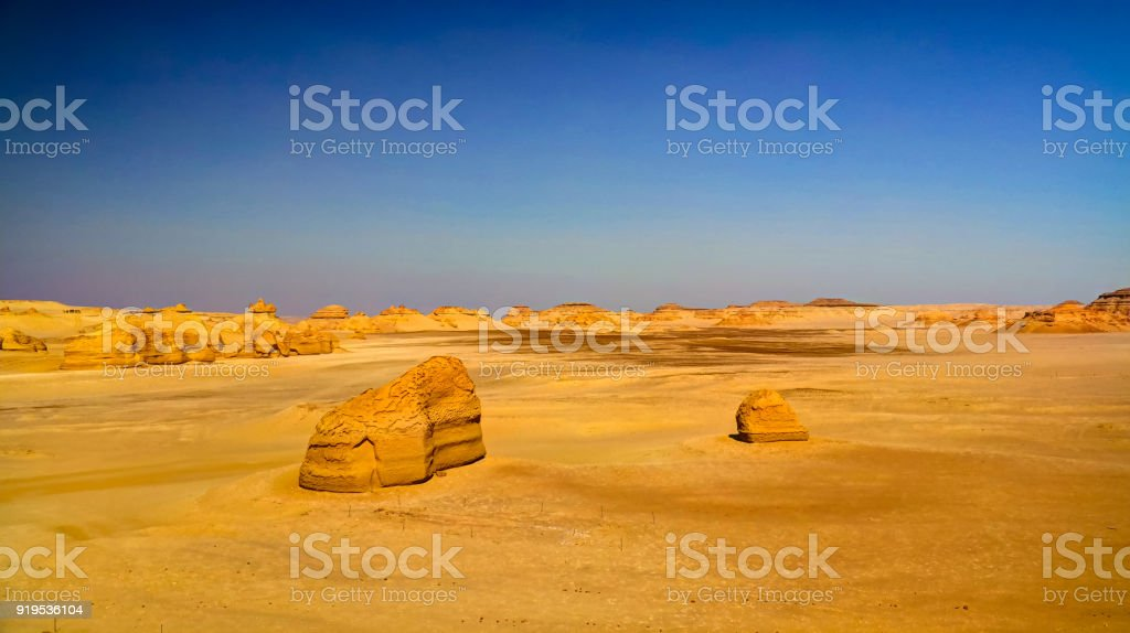 Nature sculpture in Wadi Al-Hitan aka Whales Valley in Egypt stock photo