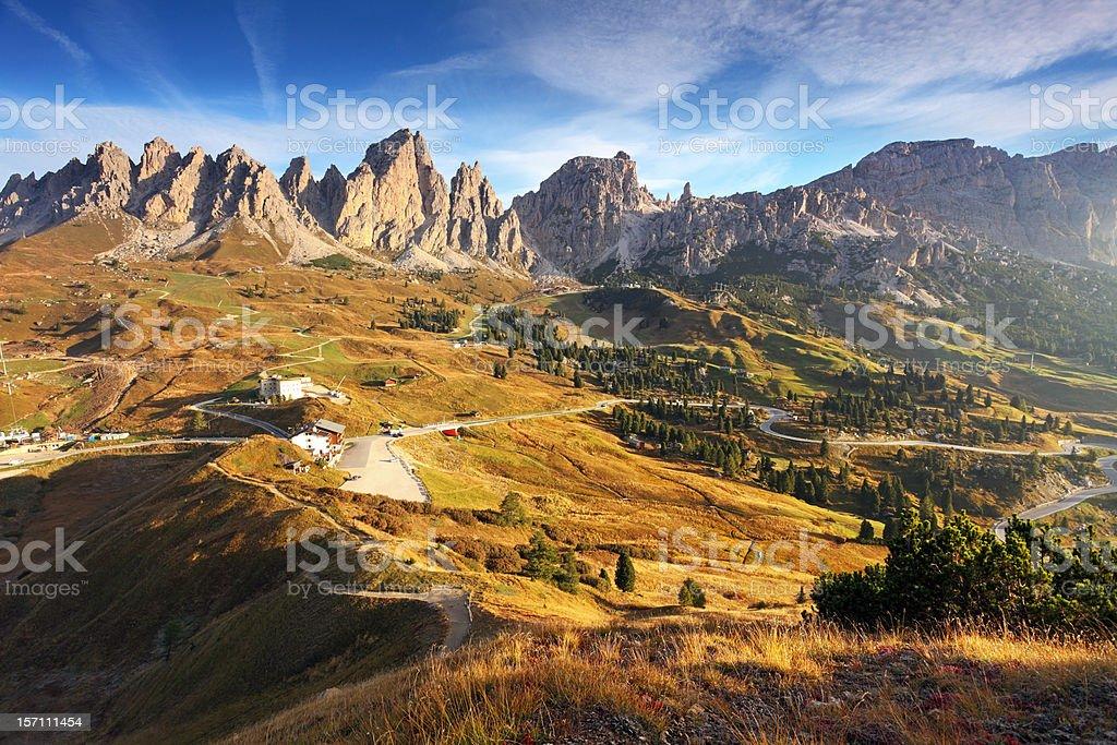 Nature Sunrise in Val Gardena - Italy mountain Dolomites stock photo