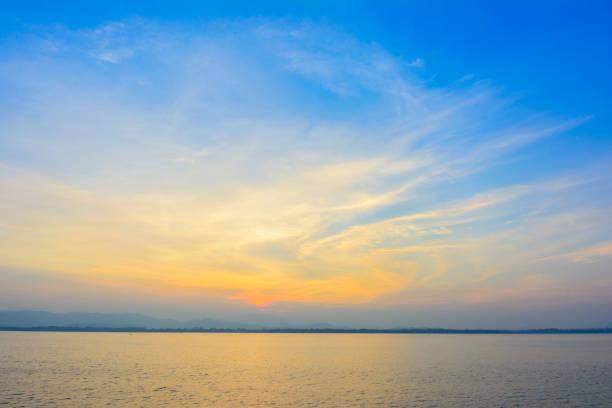Nature sunrise with mountain background stock photo