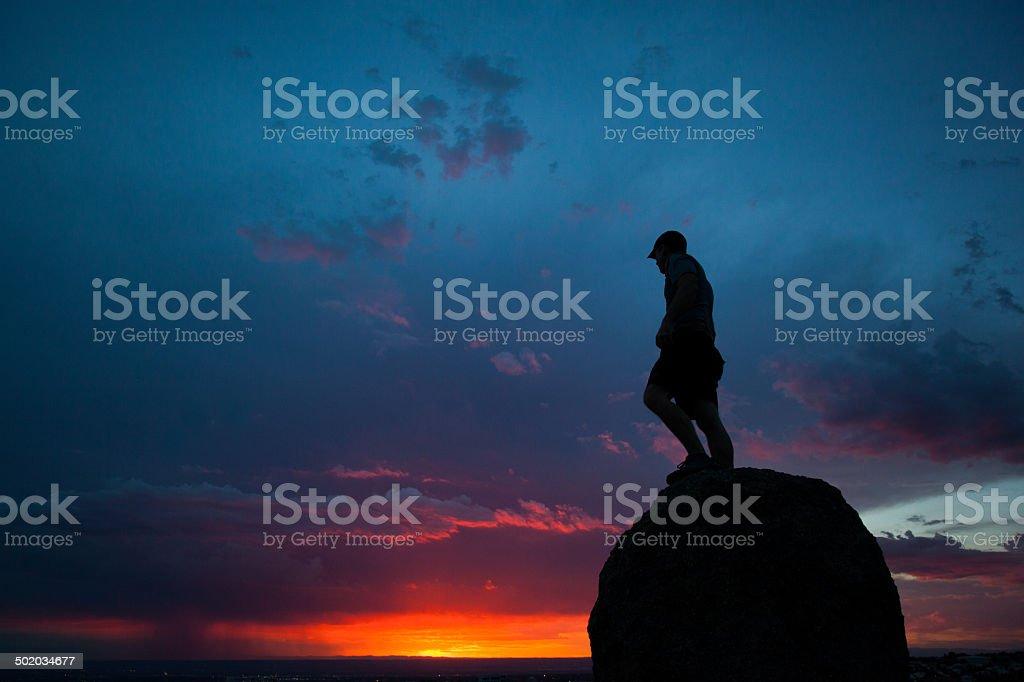 nature sunset silhouette man royalty-free stock photo