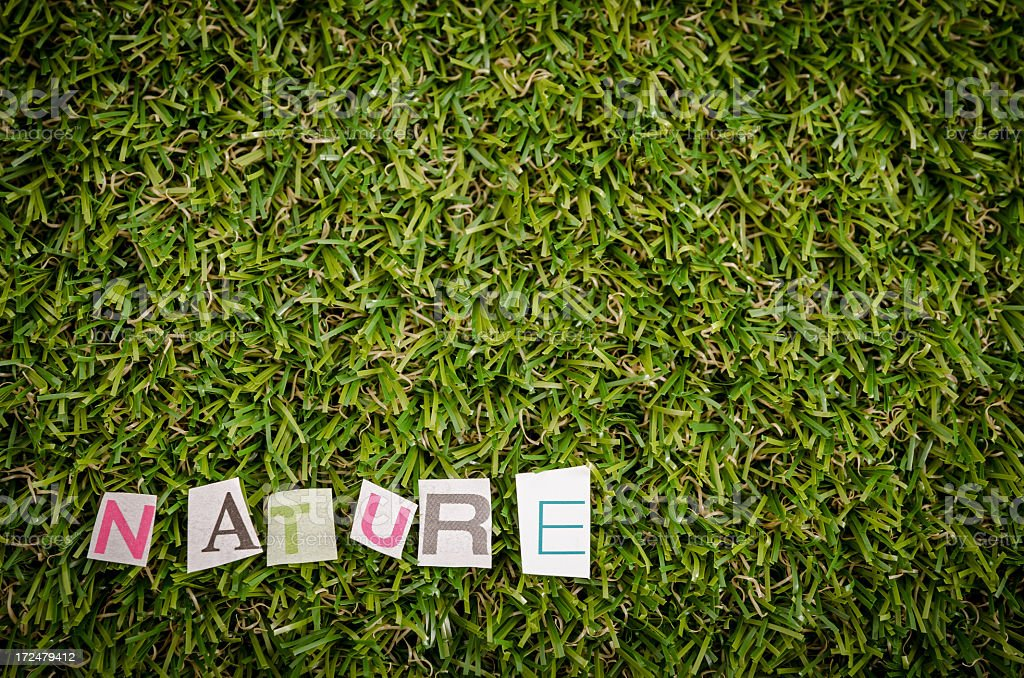 Nature text on grass royalty-free stock photo
