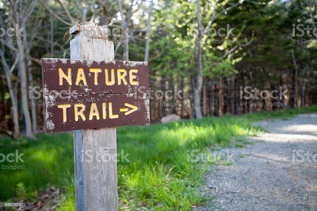 Nature Trail sign at Acadia National Park, Maine. stock photo
