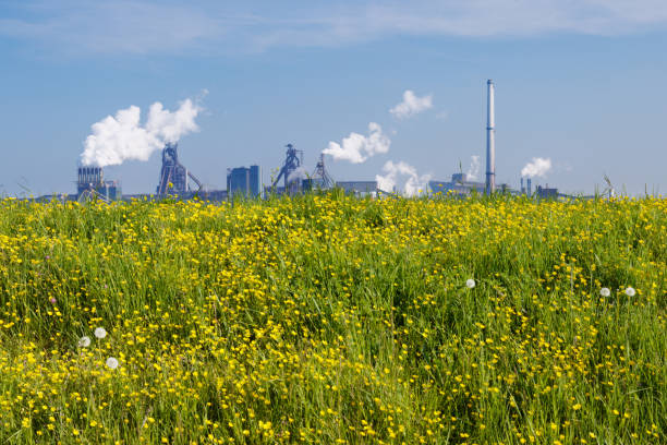 Nature versus industry (closer version) stock photo