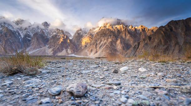 Nature view landscape autumn of the Pakistan in Karakorum mountains , K2 and Nanga Parbat , Pasu valleys and glaciers. stock photo