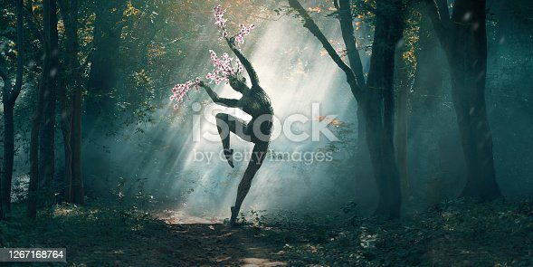 A tree in the shape of a female dancer striking a ballet pose with branches sprouting from head and fingers growing in a sun dappled forest. Perhaps personifying Nature, the tree is lit by shafts of sunlight coming through the trees.