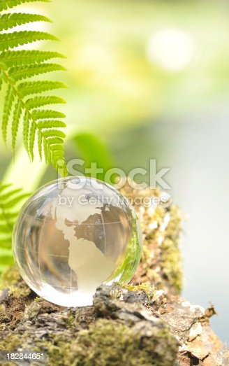 Crystal globe sat on moss covered rock in a forest at the side of a lake.
