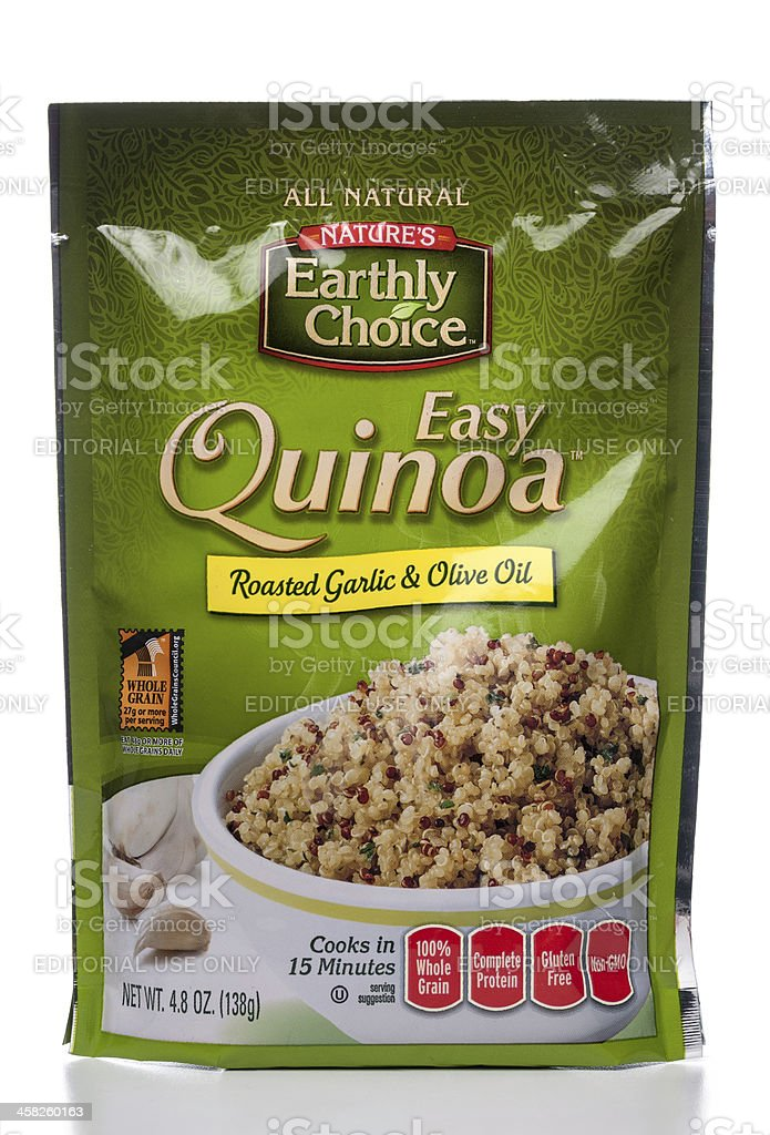 Nature's Earthly Choice Easy Quinoa Roasted Garlic & Olive Oil stock photo