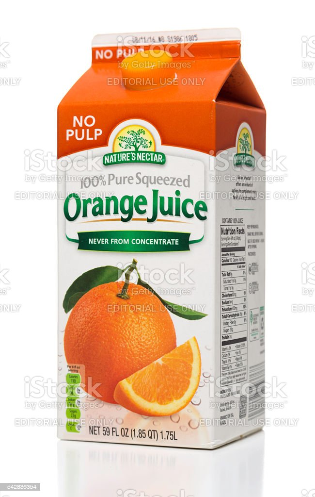 Nature\'s Nectar No Pulp 100% pure squeezed orange juice carton side....