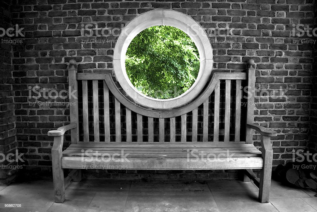 Nature's Portal  Bench Stock Photo